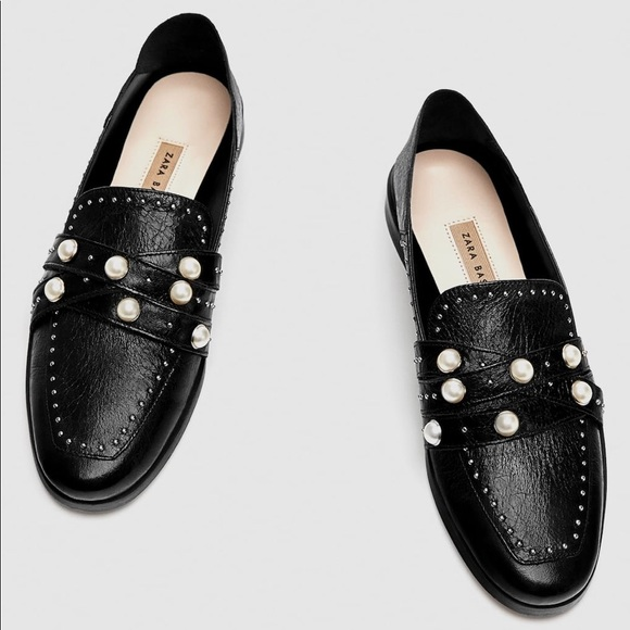 9ad86c36769 NWT Zara Black Leather Pearl Studded Loafers